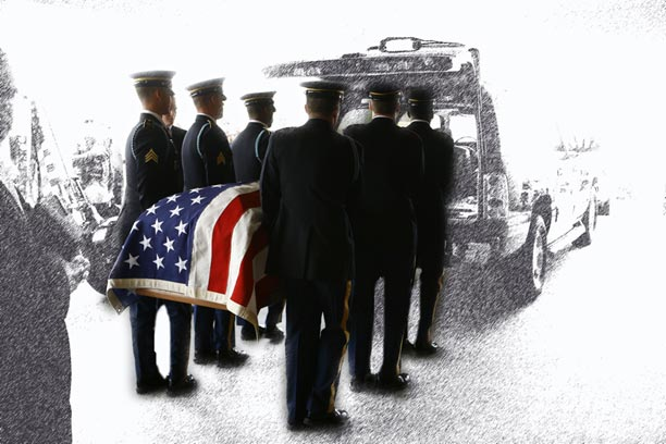 Military casket being pulled by a caisson